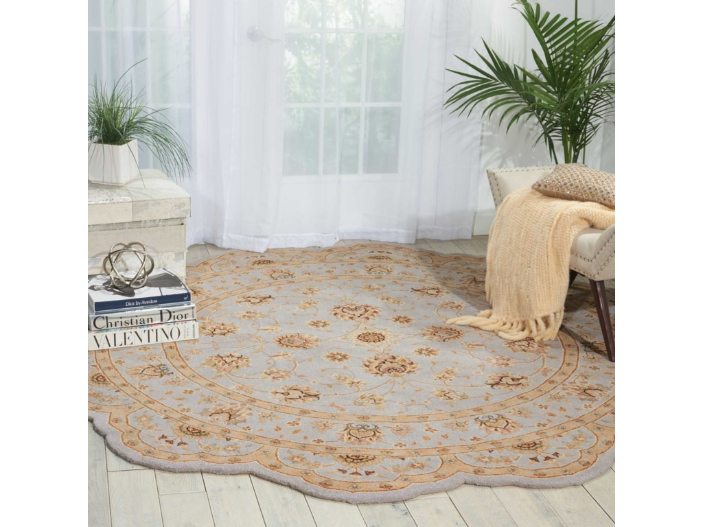 Nourison Heritage Hall6' x 6' Light Blue Free Form Rug