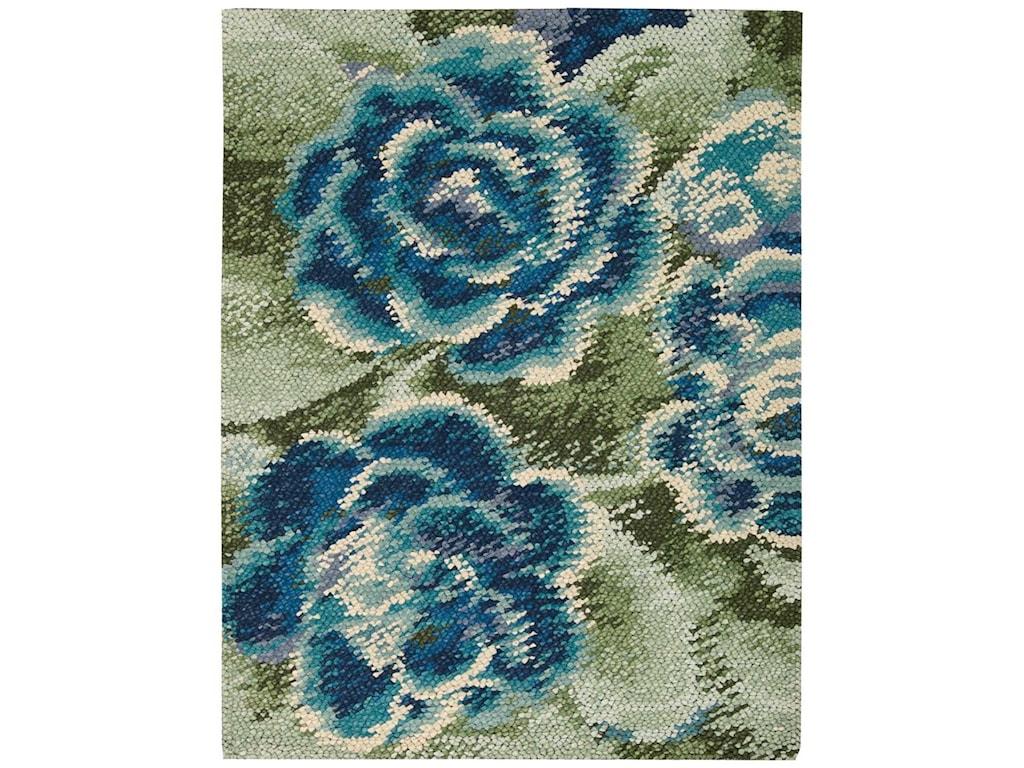 Nourison Impressionist4' x 6' Green Blue Rectangle Rug