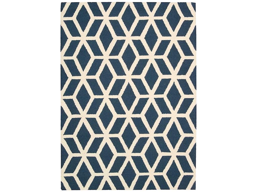 Nourison Linear5' x 7' Blue/Ivory Rectangle Rug
