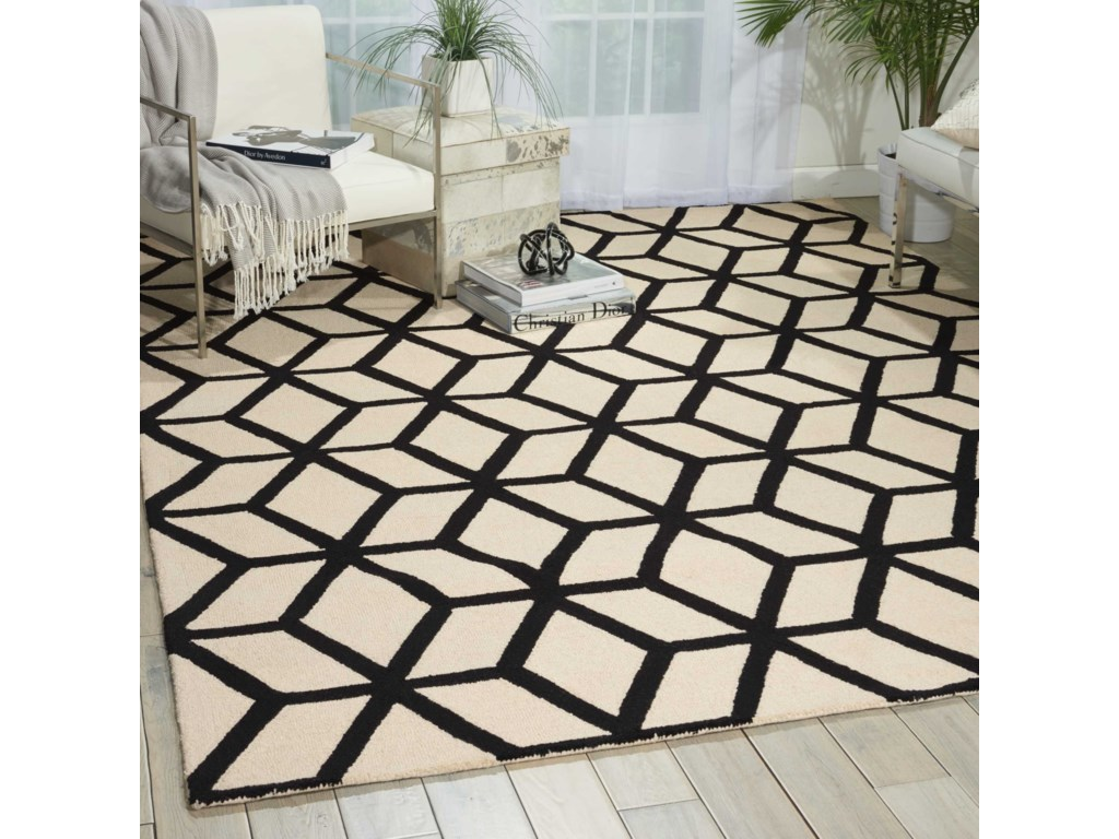 Nourison Linear8' x 11' Ivory/Black Rectangle Rug