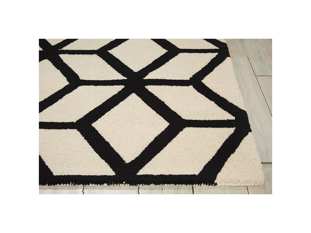 Nourison Linear8' x 11' Ivory/Black Rectangle Rug