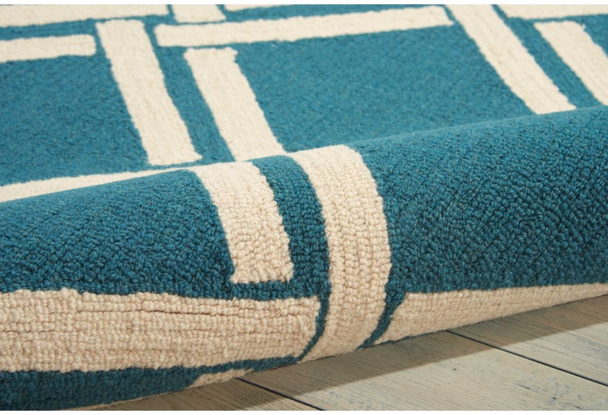 Linear 2 3 X 7 6 Teal Ivory Runner Rug Rotmans Rugs