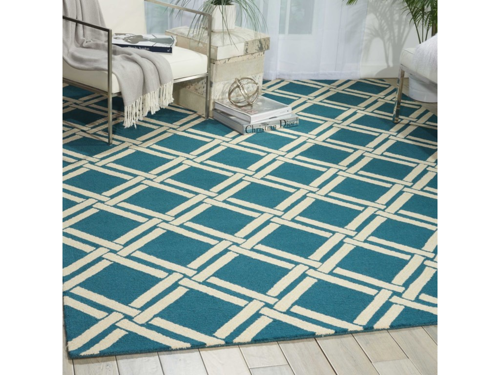 Nourison Linear8' x 11' Teal/Ivory Rectangle Rug