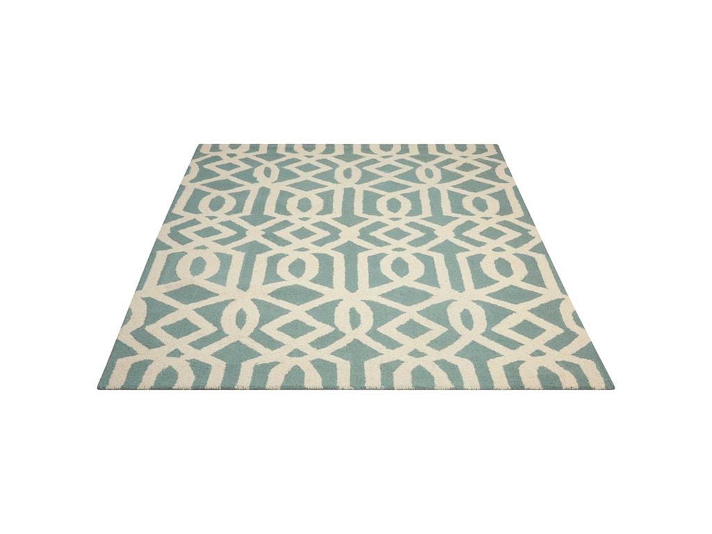 Nourison Linear5' x 7' Aqua/Ivory Rectangle Rug