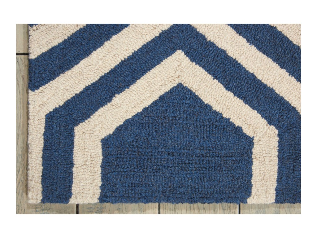 Nourison Linear5' x 7' Blue/Ivory Rectangle Rug