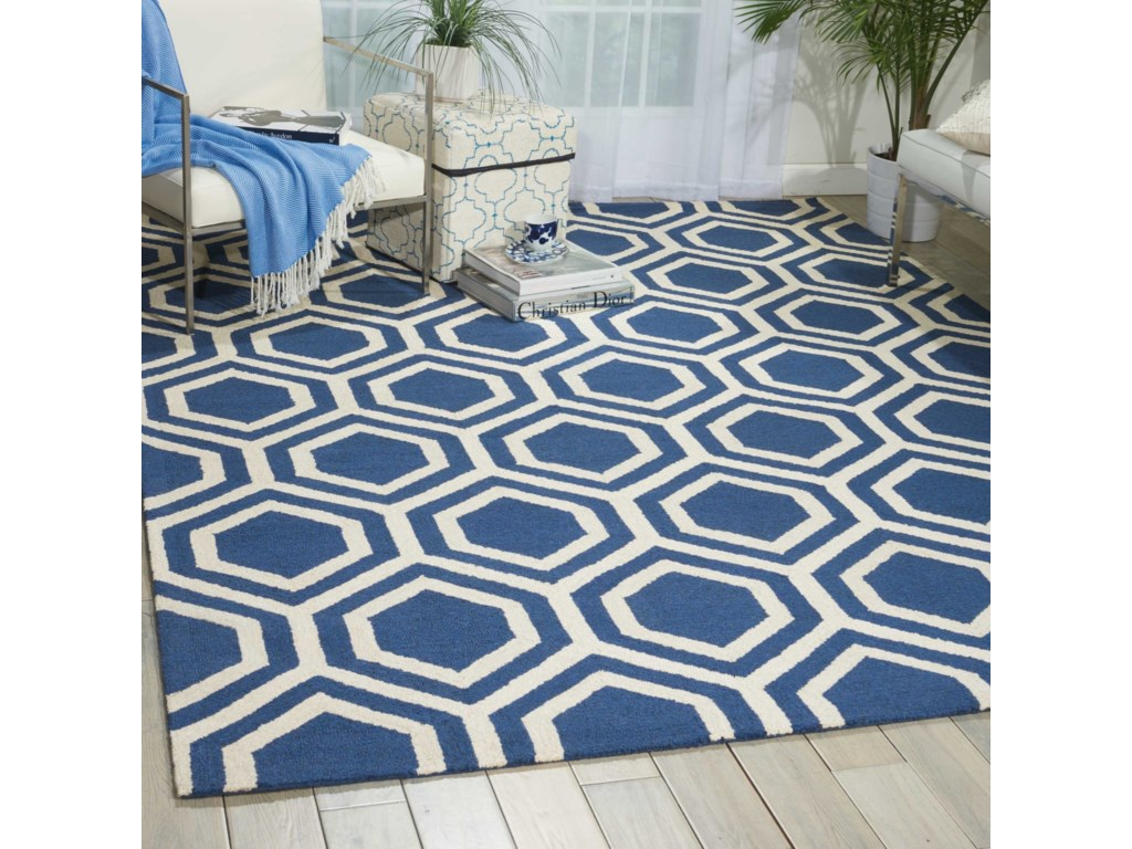 Nourison Linear8' x 11' Blue/Ivory Rectangle Rug