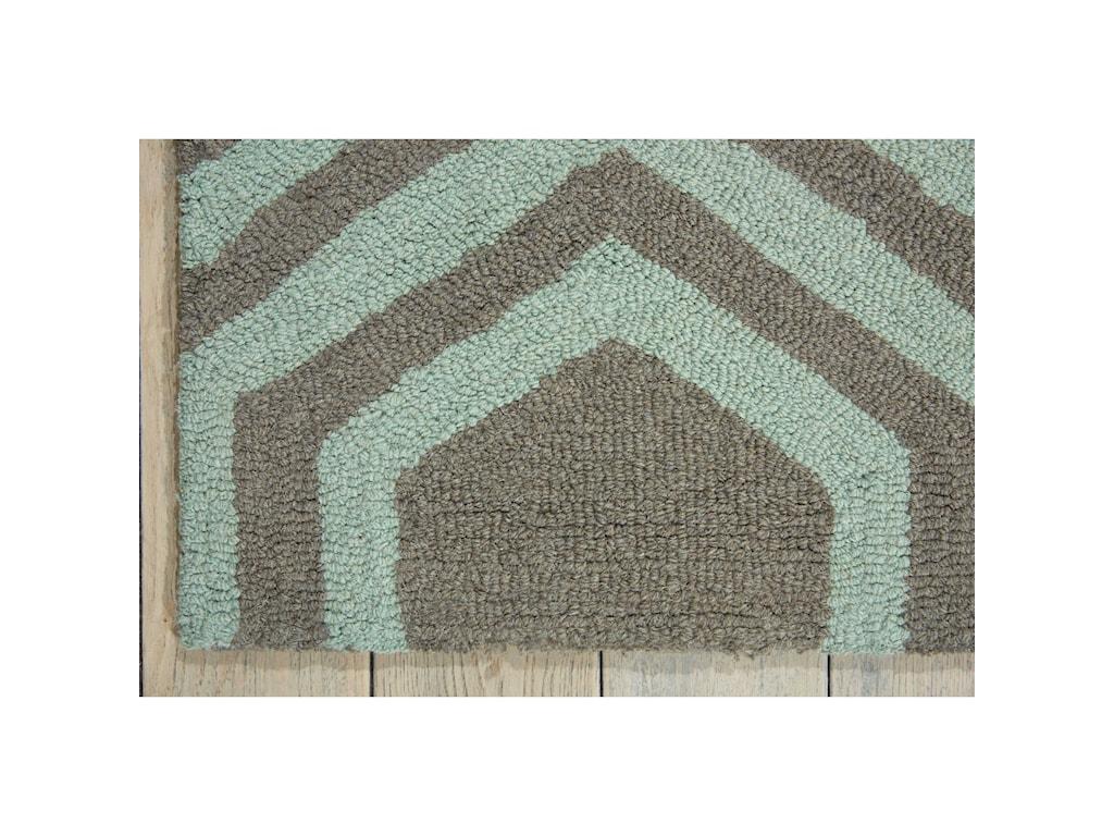 Nourison Linear5' x 7' Grey/Aqua Rectangle Rug