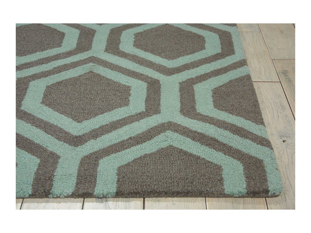 Nourison Linear8' x 11' Grey/Aqua Rectangle Rug