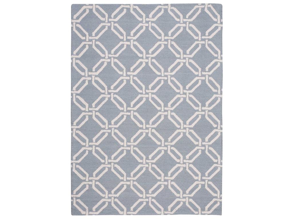 Nourison Linear5' x 7' Light Blue Rectangle Rug