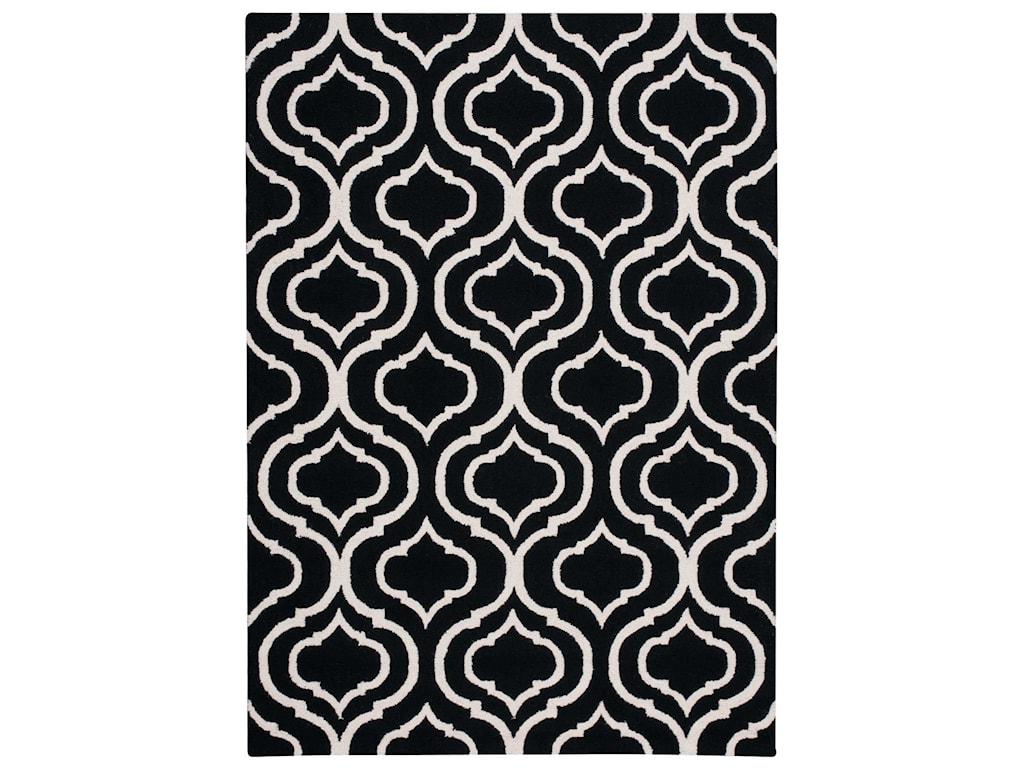 Nourison Linear5' x 7' Black/White Rectangle Rug