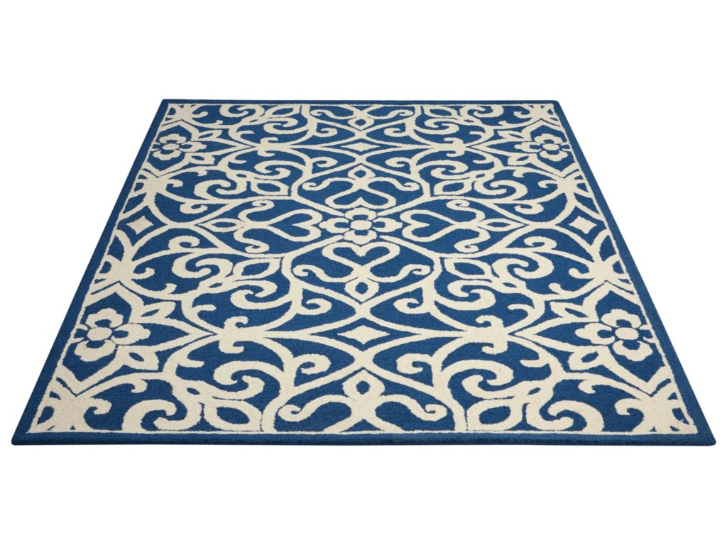 Nourison Linear5' x 7' Navy/Ivory Rectangle Rug