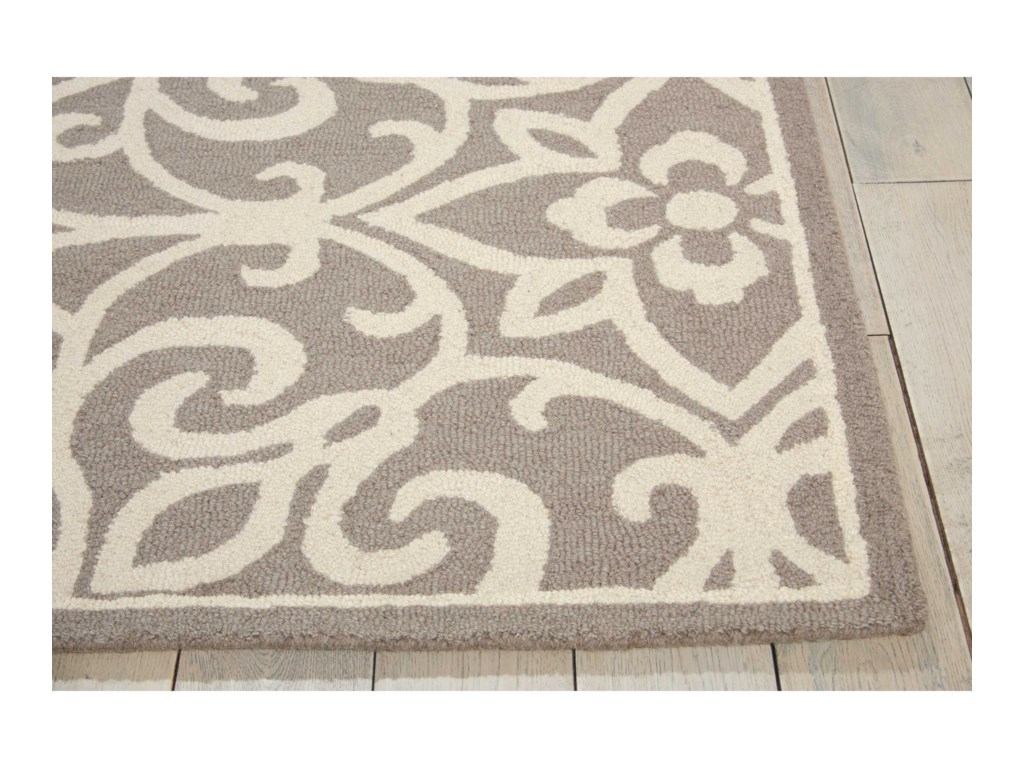 Nourison Linear5' x 7' Silver/Ivory Rectangle Rug