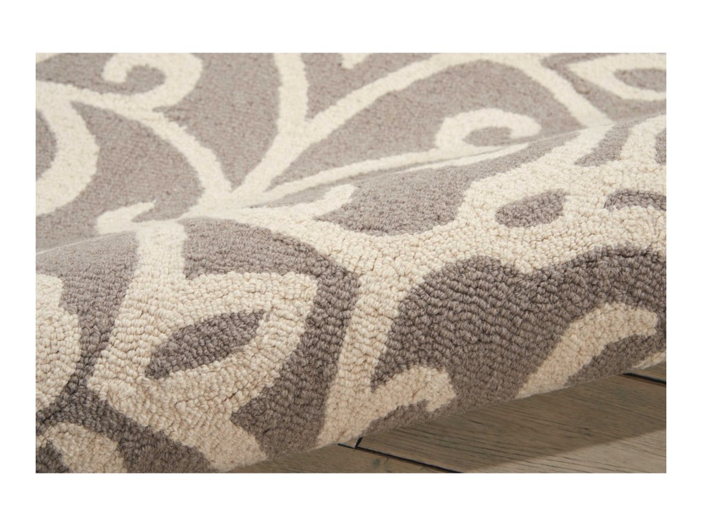 Nourison Linear8' x 11' Silver/Ivory Rectangle Rug