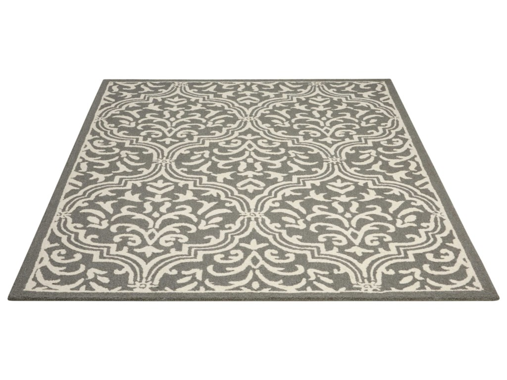 Nourison Linear5' x 7' Grey/Ivory Rectangle Rug