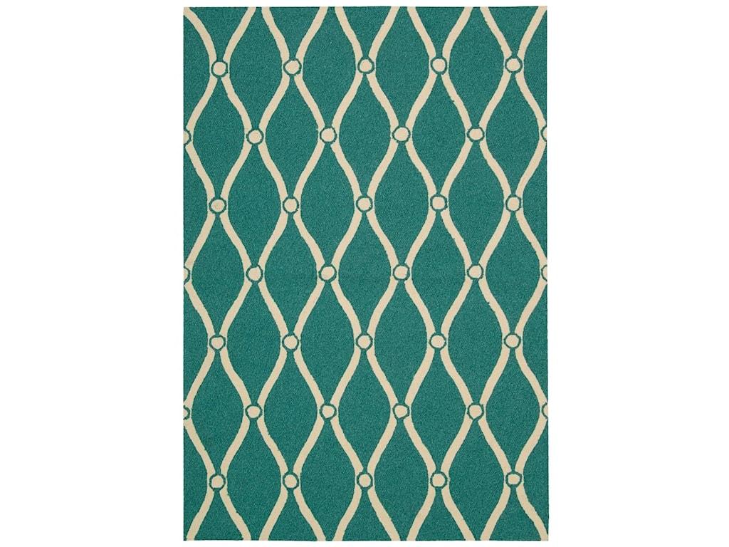 Nourison Portico2' x 3' Aqua Rectangle Rug