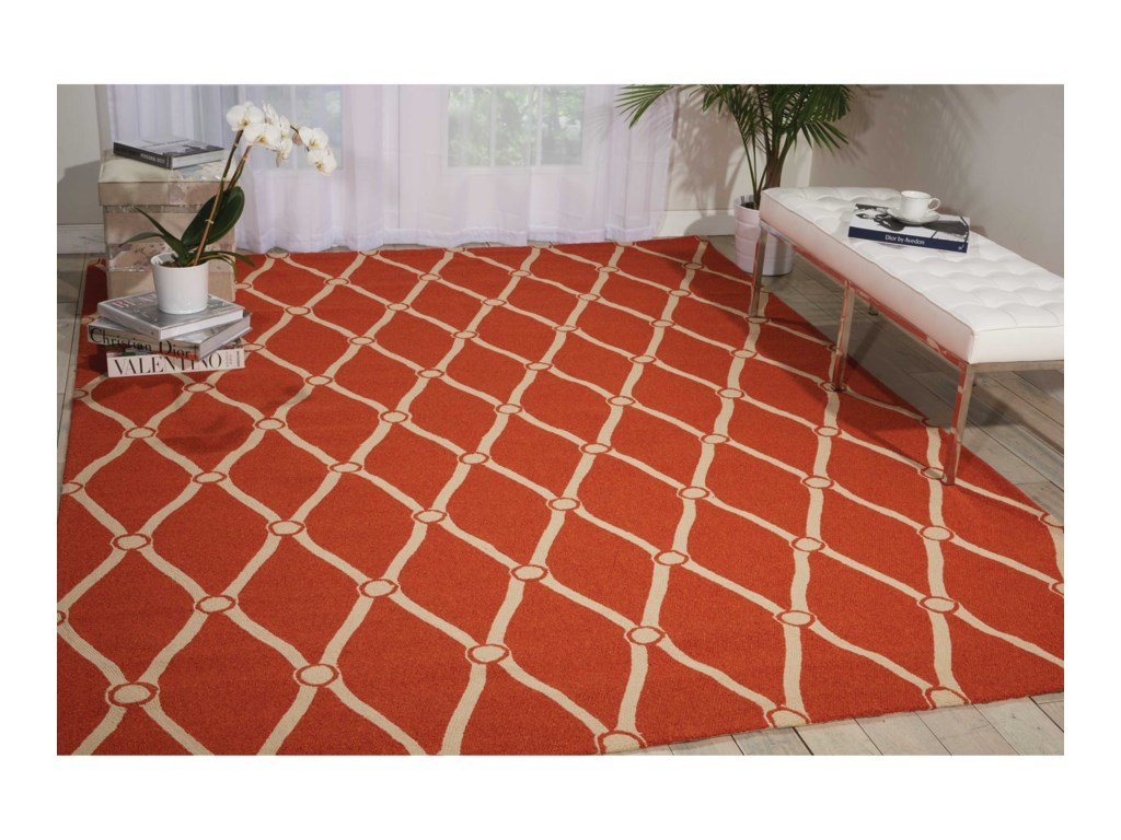 Nourison Portico10' x 13' Orange Rectangle Rug