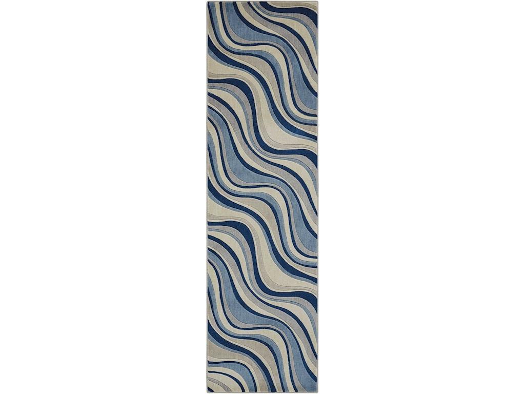 Nourison Somerset St81 Ivblu 2x59 2 X 59 Ivory Blue Runner Rug