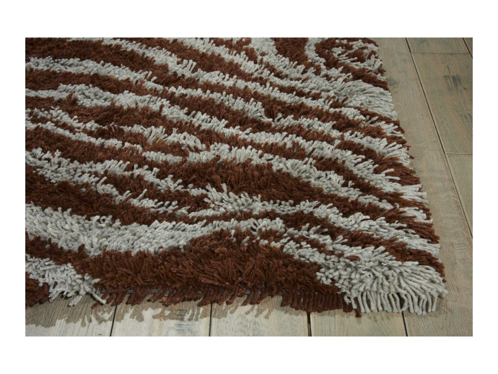 Nourison Splendor5' x 7' Aqua Brown Rectangle Rug