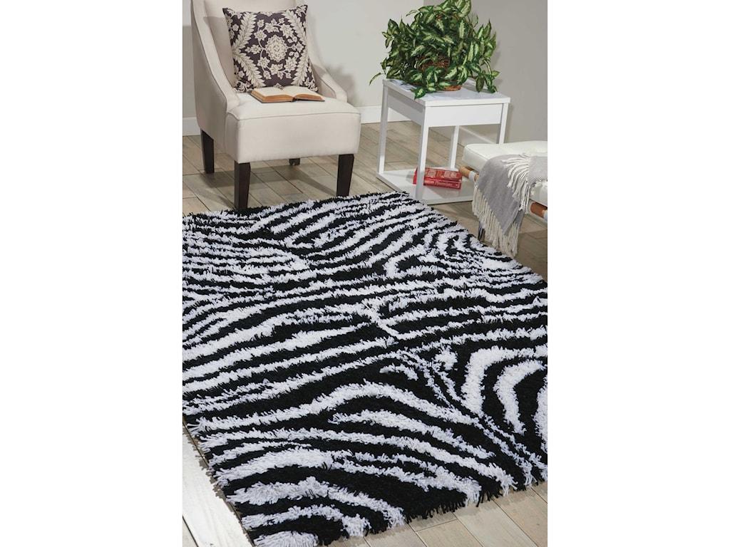 Nourison Splendor5' x 7' Black/White Rectangle Rug