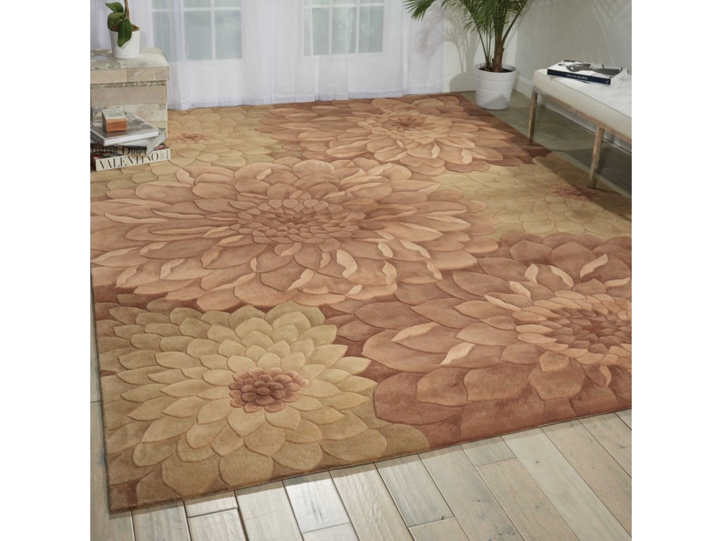 Nourison Tropics8' x 11' Taupe/Green Rectangle Rug