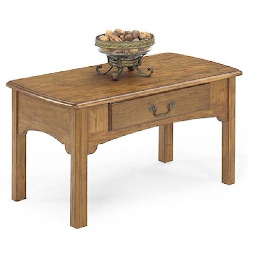 Null Furniture 1400 Single Drawer Rectangular Cocktail Table with Metal Bail Hardware