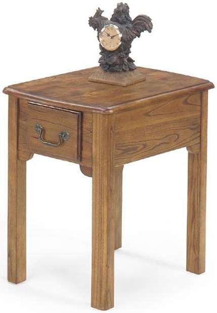 Null Furniture 1400 Single Drawer Rectangular End Table with Bail Hardware and Tall Legs