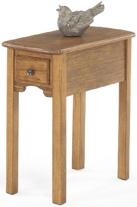 Null Furniture 1400 Single Drawer Rectangular Chairside Table with Bail Hardware and Tall Legs