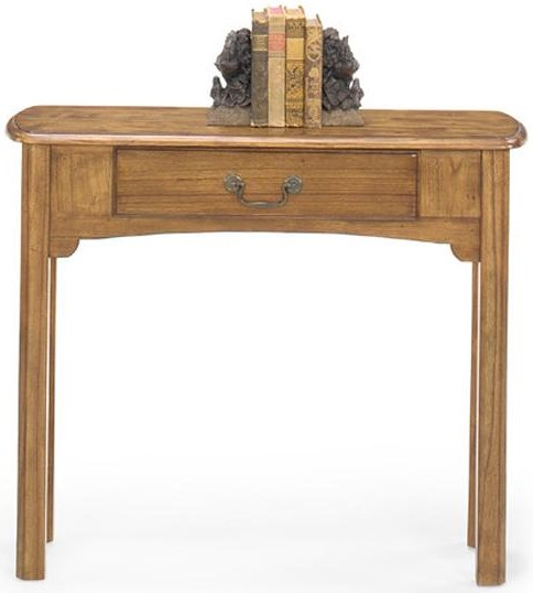 Null Furniture 1400 Single Drawer Sofa Console Table with Metal Bail Hardware and Tall Legs