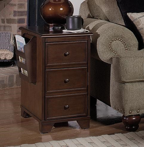 Null Furniture 1800 Magazine End Tables Magazine Storage End Table with Drink Tray, Storage Door and 2 Magazine Racks