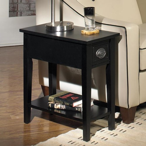 Null Furniture 1811 Single Drawer Chairside Table with Bottom Shelf