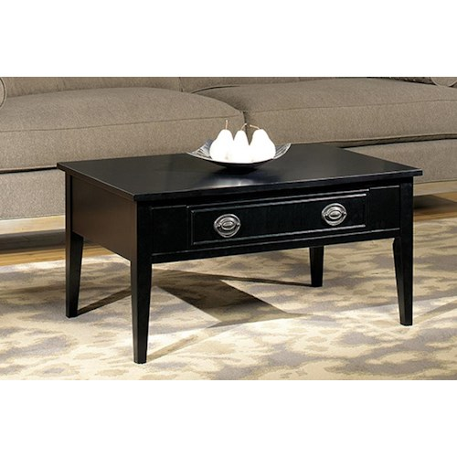 Null Furniture 1811 Single Drawer Cocktail Table with Decorative Handle and Backplate