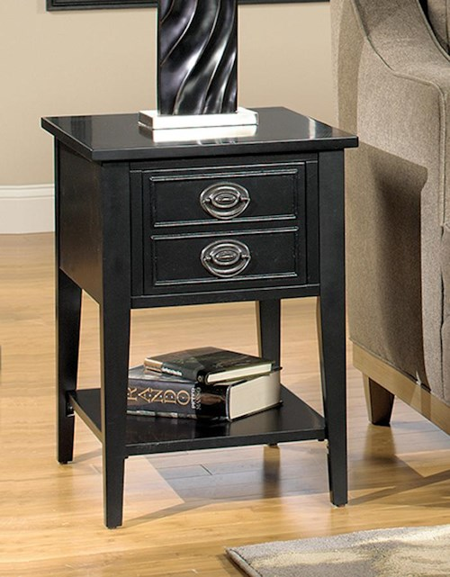 Null Furniture 1811 Single Drawer Magazine Storage End Table with Bottom Shelf