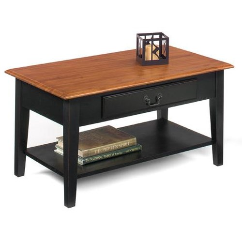 Null Furniture 1900 International Accents Rectangular Cocktail Table with Single Drawer and Bottom Shelf