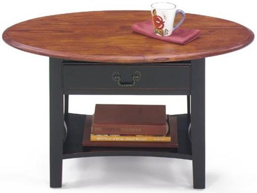 Null Furniture 1900 International Accents Petite Oval Cocktail Table and Square Base with Single Drawer and Bottom Shelf