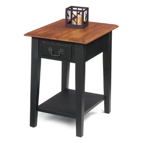 Null Furniture 1900 International Accents Rectangular End Table with Single Drawer and Bottom Shelf