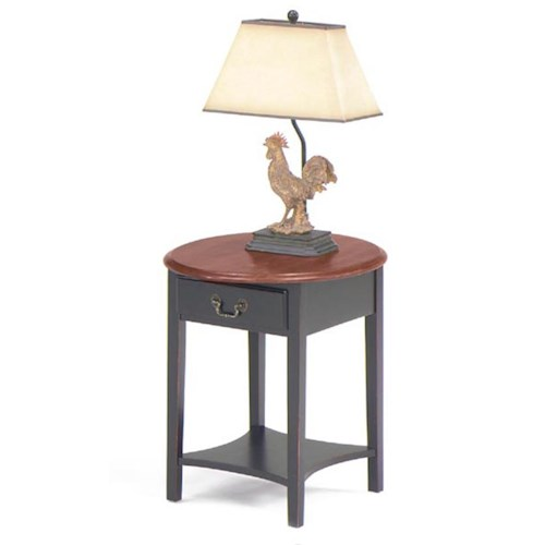 Null Furniture 1900 International Accents Petite Oval End Table with Single Drawer and Bottom Shelf