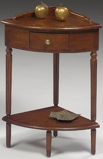 Null Furniture 1900 International Accents Corner End Table with Single Drawer, Bottom Shelf, and Turned Legs