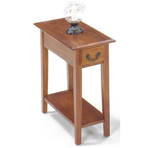 Null Furniture 1900 International Accents Rectangular Chairside Table with Drawer and Bottom Shelf