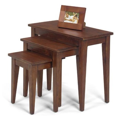 Null Furniture 1900 International Accents Chestnut Finished Nesting Tables with Tall, Tapered Legs