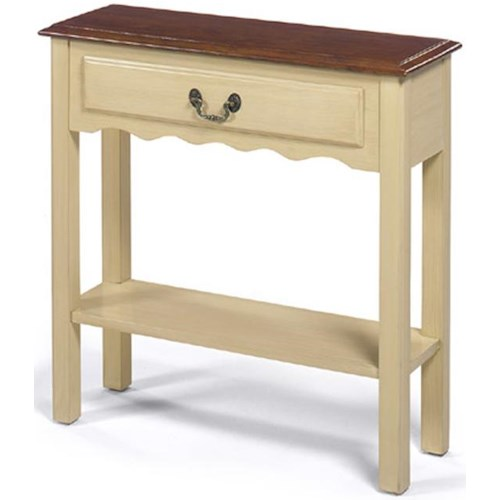 Null Furniture 1900 International Accents Small Rectangular Cream Console Table with Single Drawer, Bottom Shelf, and Brown Top