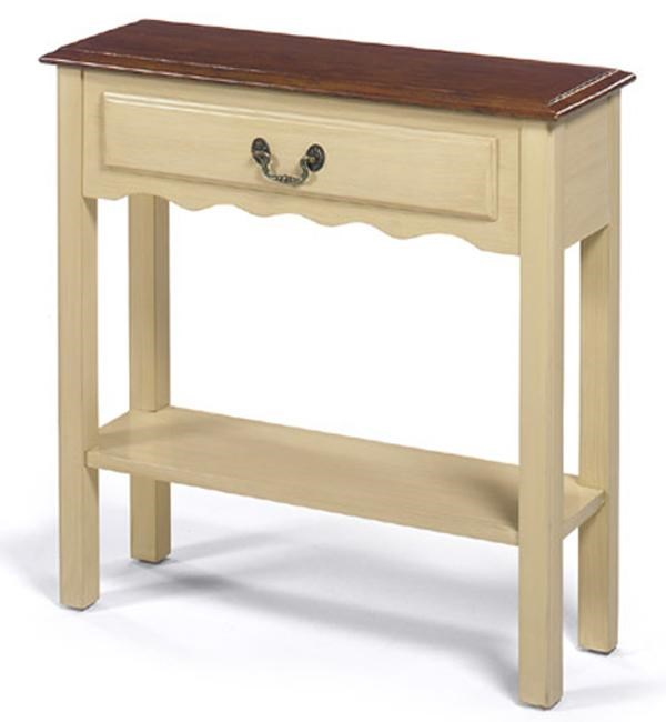 Ordinaire Null Furniture 1900 International Accents Small Rectangular Cream Console  Table With Single Drawer, Bottom Shelf