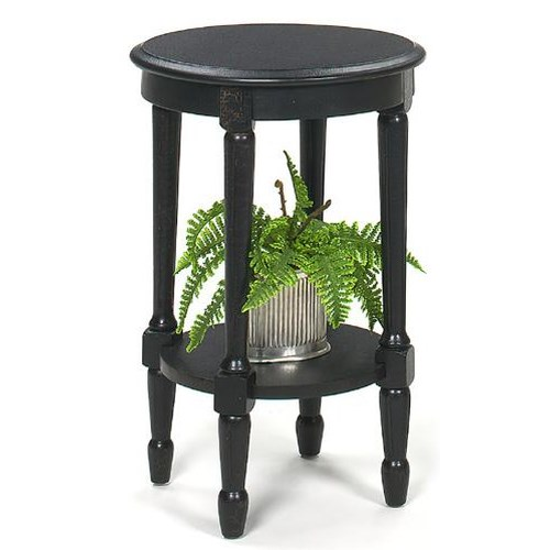 Null Furniture 1900 International Accents Round Black Crackle Accent Table with Bottom Shelf and Turned Legs