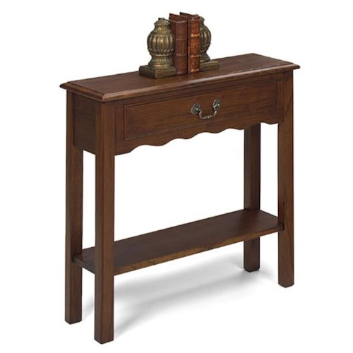 Null Furniture 1900 International Accents Rectangular Petite Console Table with Single Drawer, and Bottom Shelf