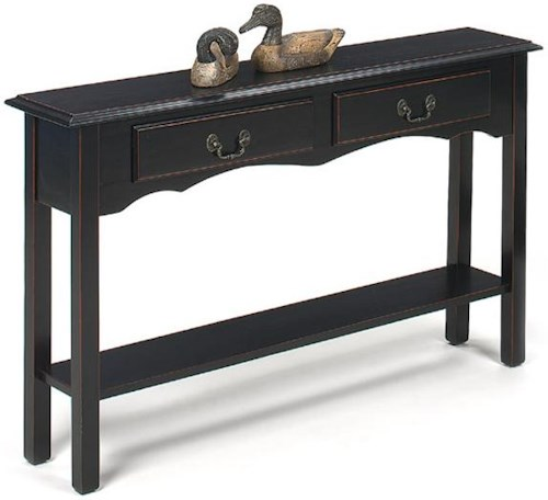 Null Furniture 1900 International Accents Petite Extra Long Console with 2 Drawers and Bottom Shelf
