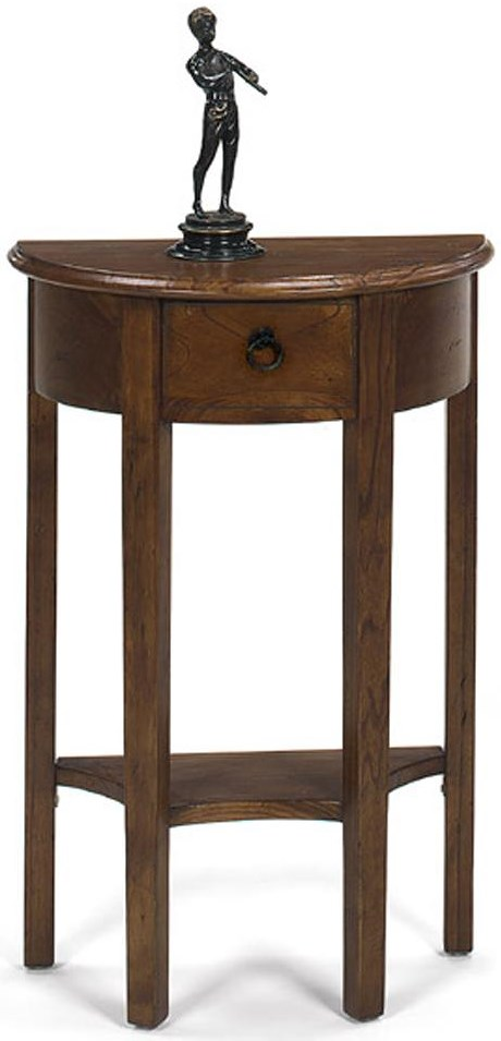 Null Furniture 1900 International Accents Petite Demi Console Table with Single Drawer and Bottom Shelf