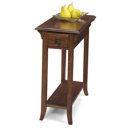 Null Furniture 1900 International Accents Rectangular Mission End Table with Single Drawer and Bottom Shelf