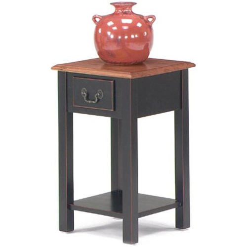 Null Furniture 1900 International Accents Square Stand with Single Drawer and Bottom Shelf