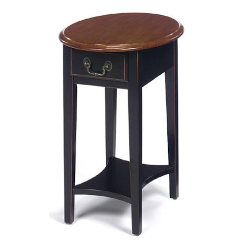 Null Furniture 1900 International Accents Oval Stand with Single Drawer and Bottom Shelf