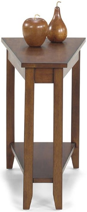 Null Furniture 1900 International Accents Wedge End Table with Bottom Shelf and Tall, Tapered Legs