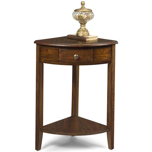 Null Furniture 1900 International Accents Corner Console End Table with Single Drawer and Bottom Shelf